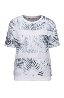 Sudadera relaxed fit en mezcla de algodón con estampado de hojas de palmera: 'Tabloom', Fantasía