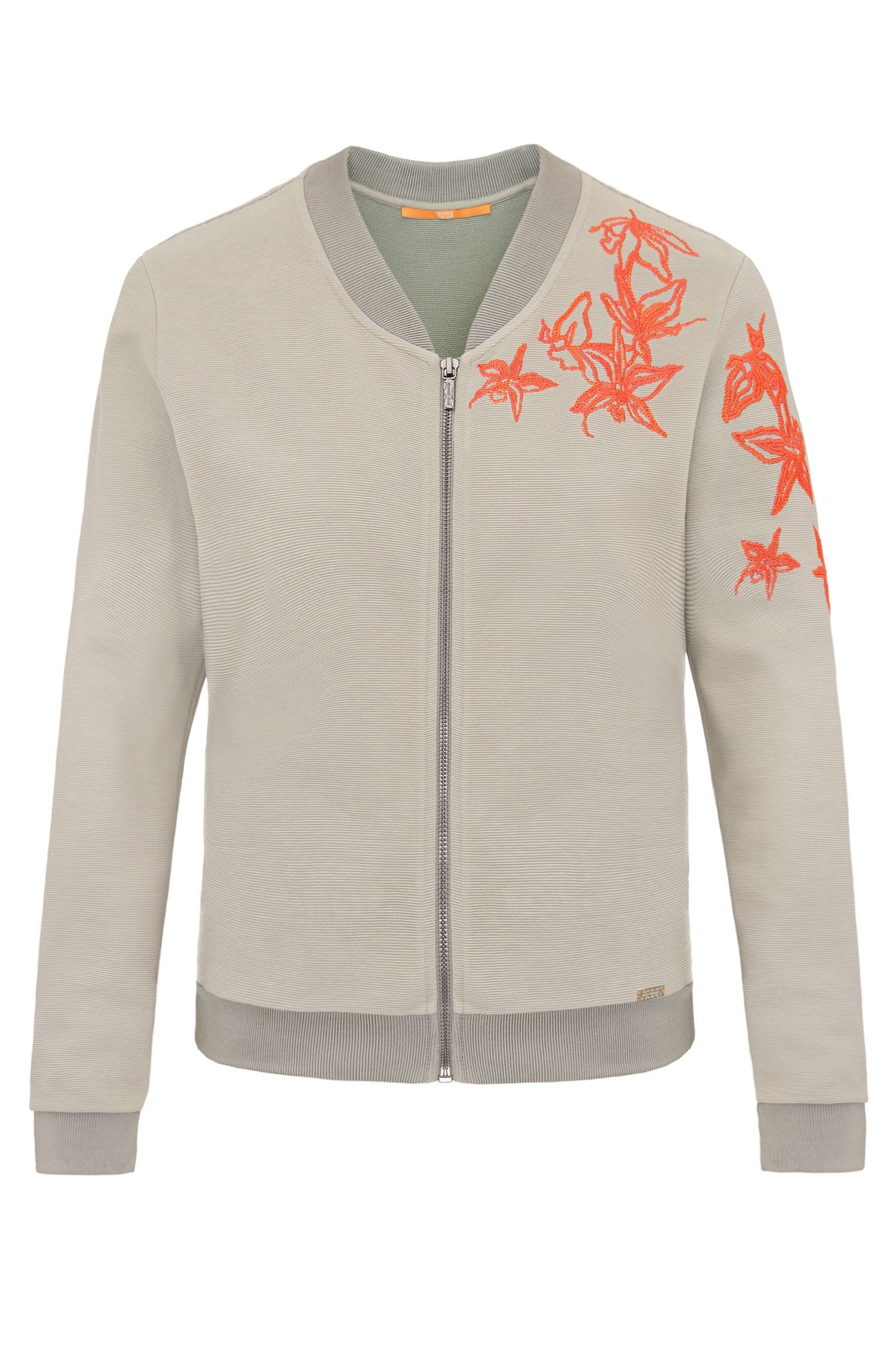 Embroidered regular-fit sweatshirt jacket in stretchy cotton blend: 'Tablues'