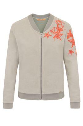 Bestickte Regular-Fit Sweatshirt-Jacke aus elastischem Baumwoll-Mix: ´Tablues`, Khaki