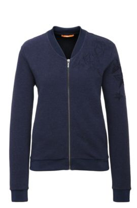 Bestickte Regular-Fit Sweatshirt-Jacke aus elastischem Baumwoll-Mix: ´Tablues`, Dunkelblau