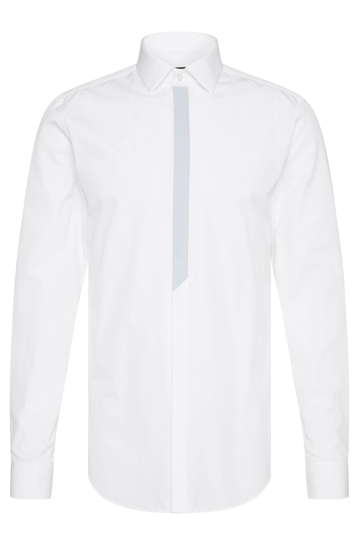 Camisa slim fit en algodón con tapeta de botones en color contrastado: 'Icarus'