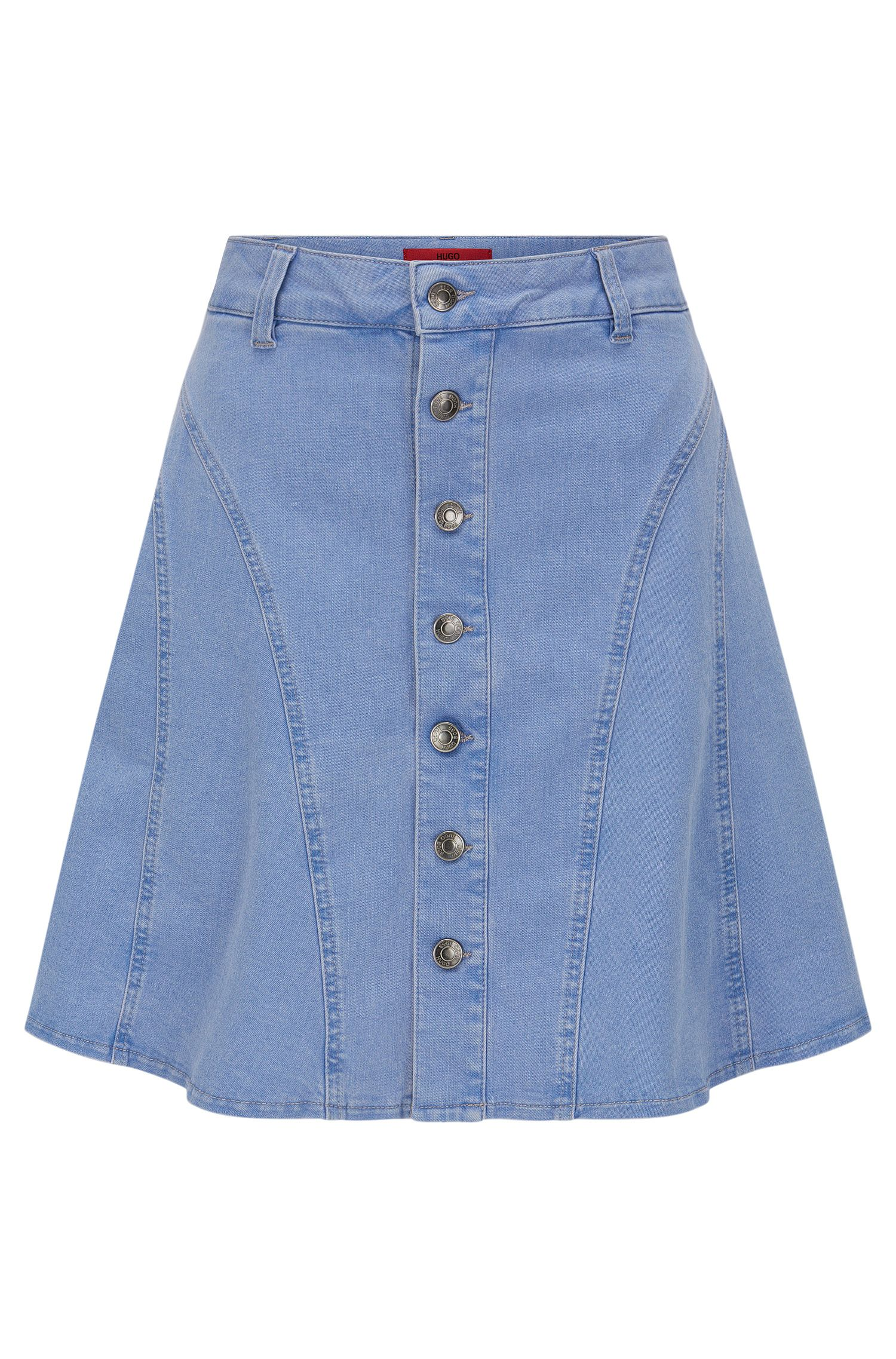 Jeans skirt in stretch cotton blend with full-length button placket: 'Ginty'