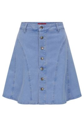 Jeans skirt in stretch cotton blend with full-length button placket: 'Ginty', Light Blue