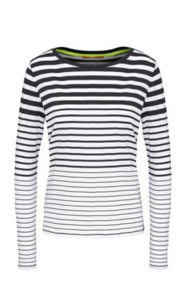 Striped slim-fit long-sleeved shirt in cotton: 'Tasquare', Dark Blue
