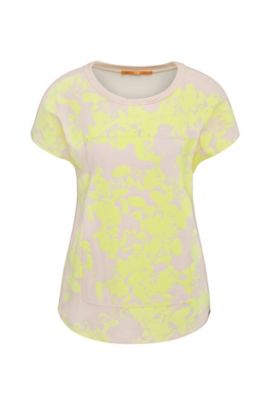 Relaxed-fit viscose t-shirt with floral print: 'Tawoody', light pink