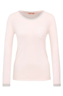 Knitted long-sleeved top in viscose with glittering hems: 'Voksi', light pink