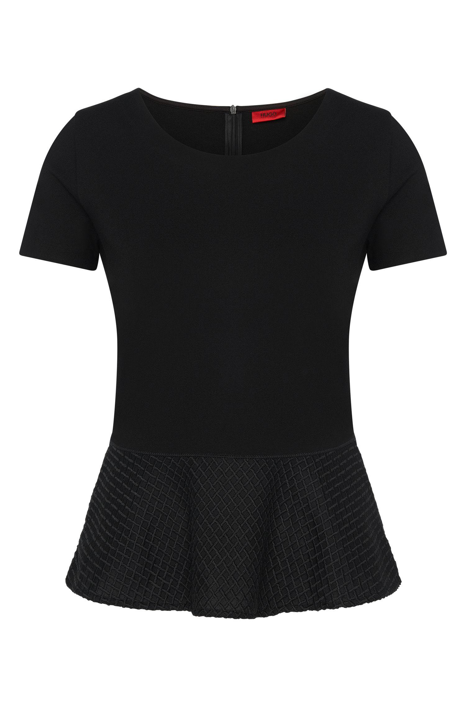 T-Shirt aus Viskose-Mix mit Schößchen-Detail: 'Dira'