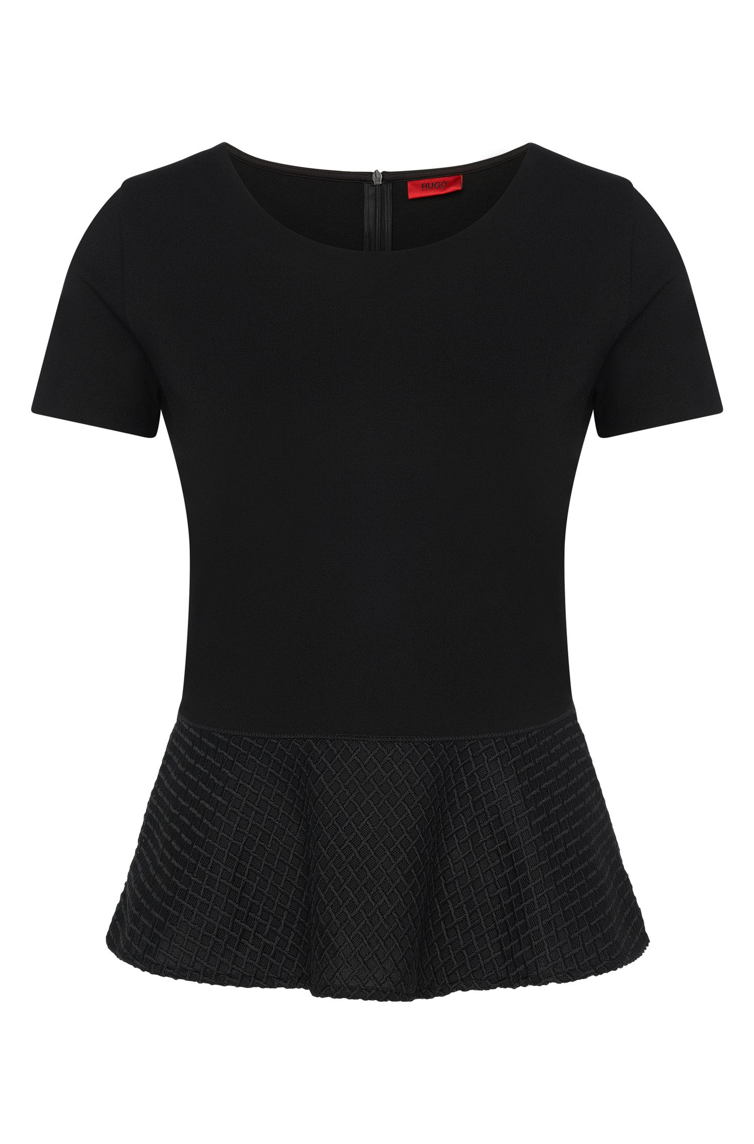 T-shirt in viscose blend with peplum detail: 'Dira'