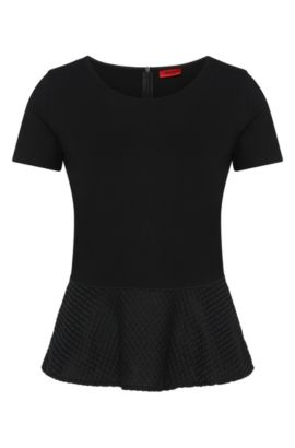 T-shirt in viscose blend with peplum detail: 'Dira', Black