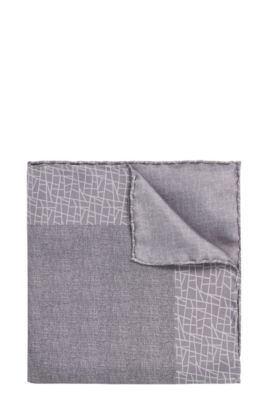 Tailored pocket square in silk with a pattern mix: 'T-Pocket sq. 33x33 cm', Open Grey