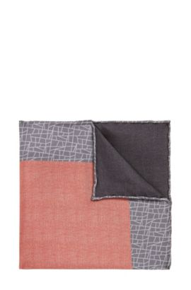 Tailored pocket square in silk with a pattern mix: 'T-Pocket sq. 33x33 cm', Open Red