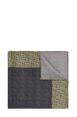 Pochette da taschino Tailored in seta con motivo fantasia: 'T-Pocket sq. 33 x 33 cm', Giallo