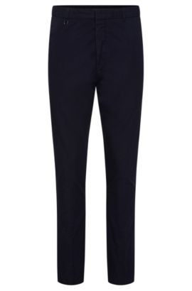 Plain slim-fit chinos in cotton: 'Hendris-D', Dark Blue