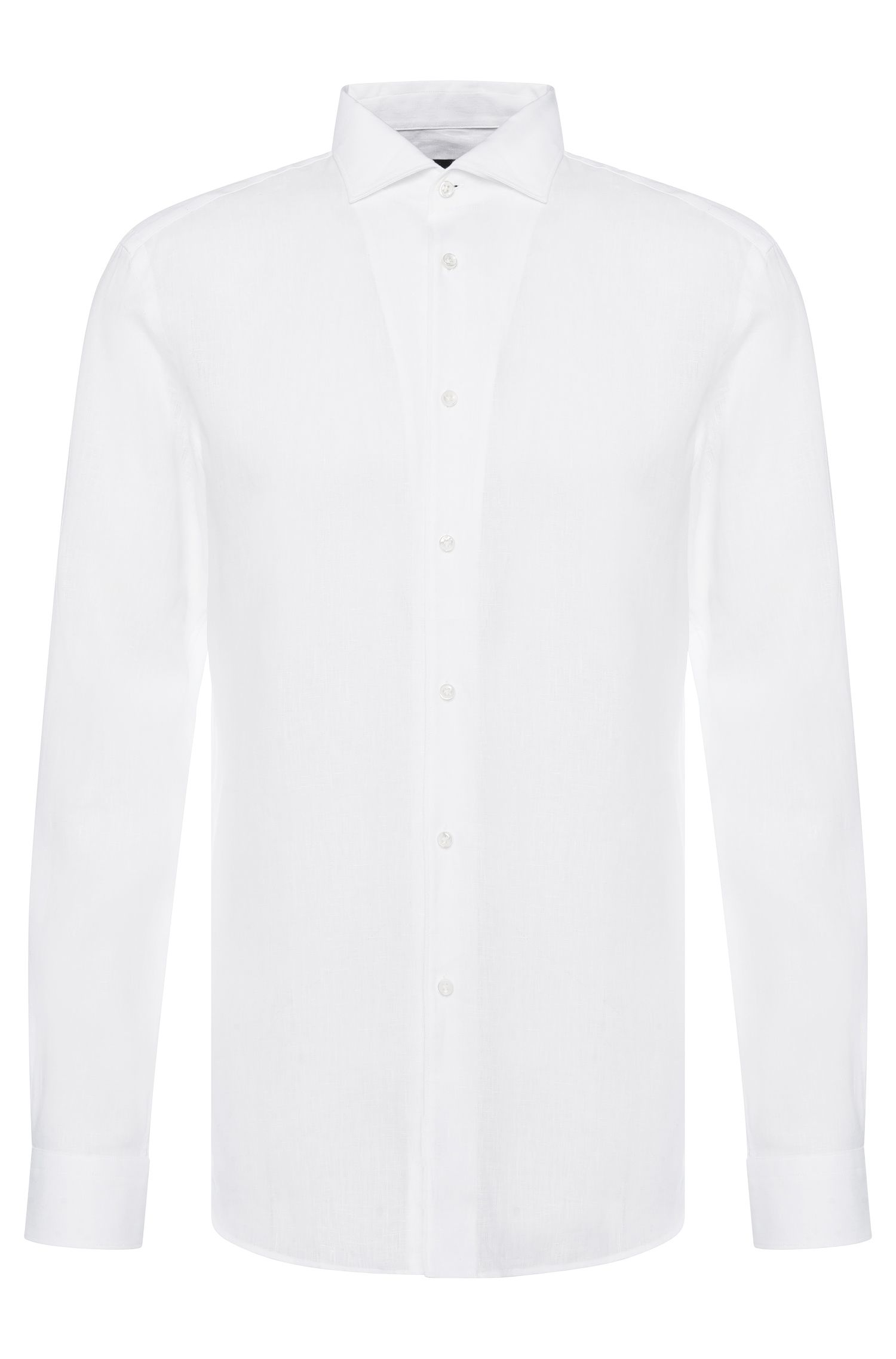 Camicia Tailored slim fit in lino: 'T-Steven'
