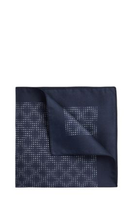 Patterned pocket square in silk: 'Pocket sq. 33x33 cm', Dark Blue