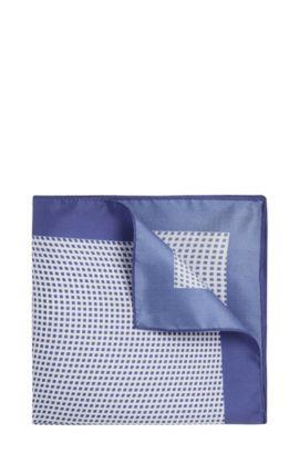 Pochet van zijde met dessin: 'Pocket sq. 33x33 cm', Blauw