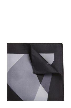 Gemustertes Einstecktuch aus Seide: 'Pocket sq. cm 33x33', Hellblau