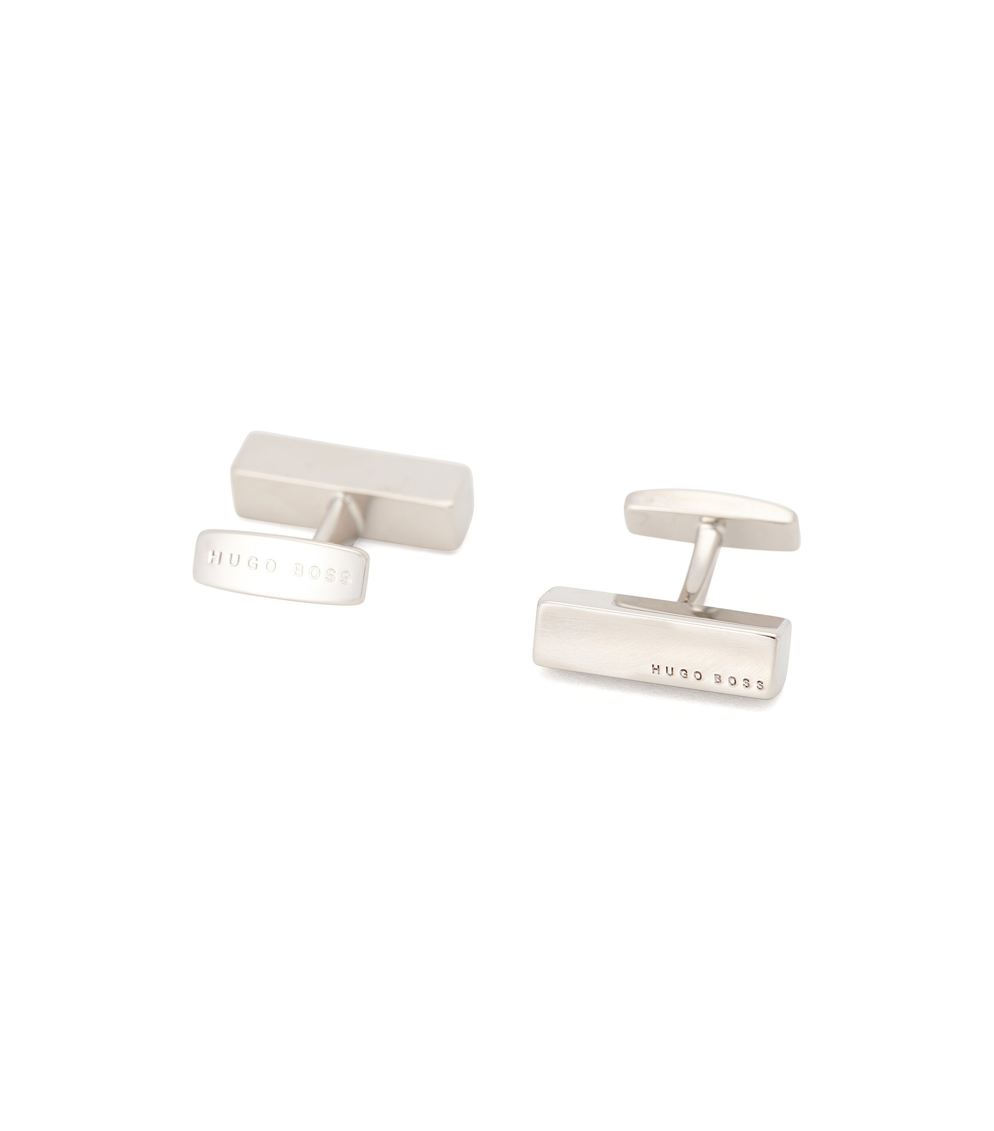 Bar-shaped cufflinks in polished metal, Silver