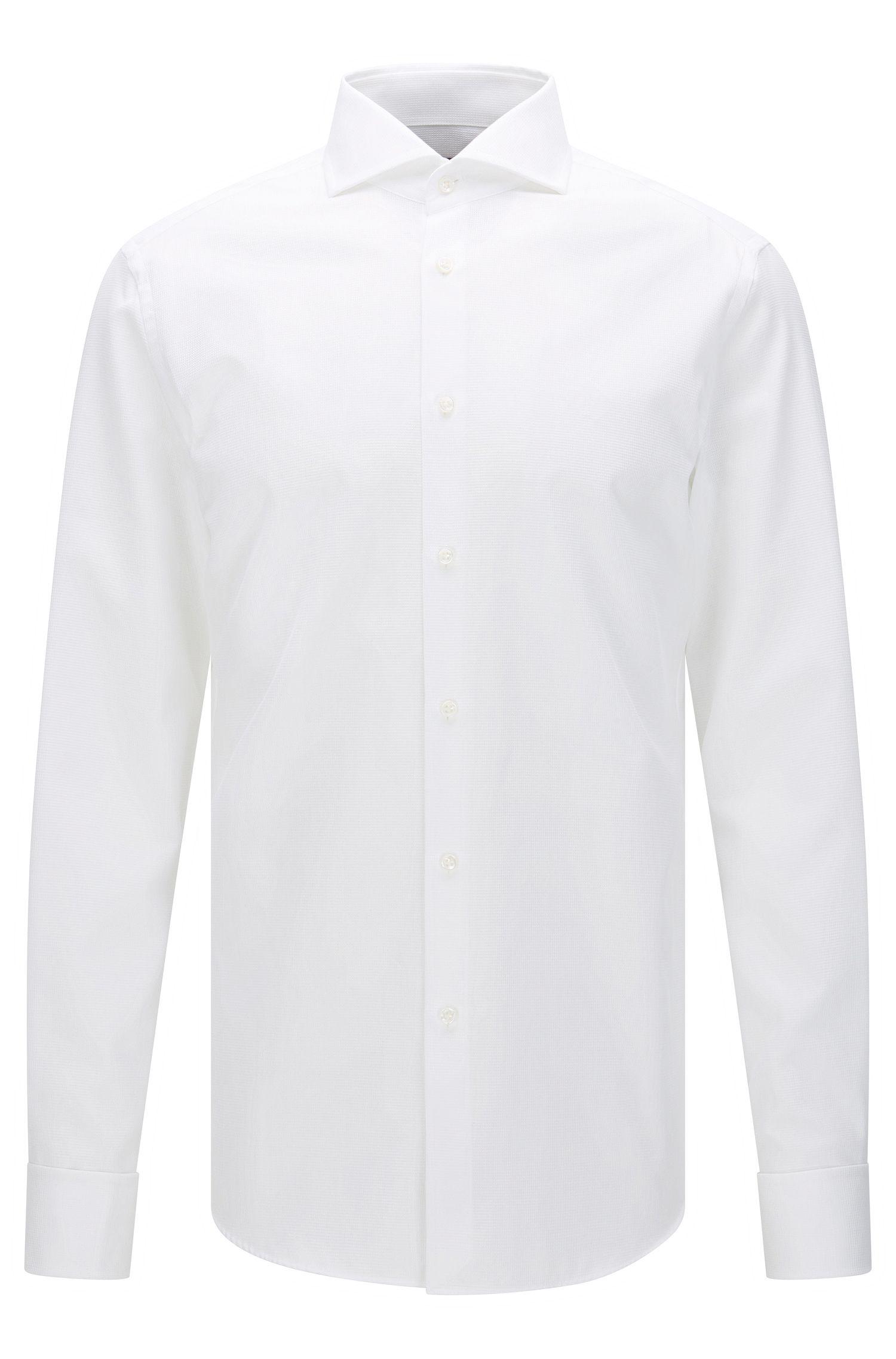 Camisa slim fit de sastrería en algodón con puño doble: 'T-Yacob'