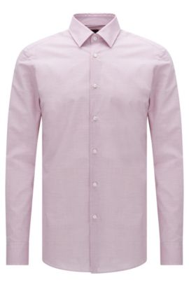 Camicia Tailored slim fit mélange in cotone elasticizzato: 'T-Clint', Lilla