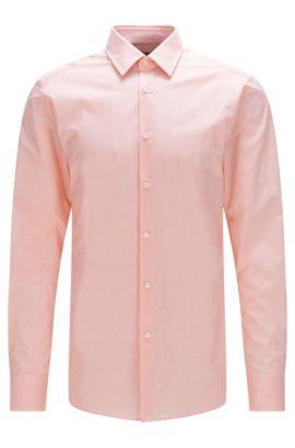 Meliertes Slim-Fit Tailored Hemd aus Stretch-Baumwolle: 'T-Clint', Hellorange