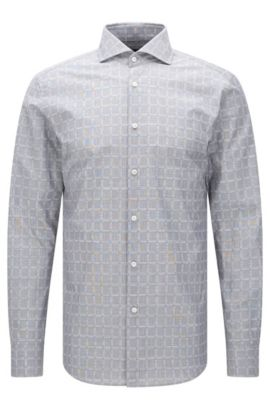 Chemise en coton à motif Slim Fit Tailored : « T-Christo », Anthracite