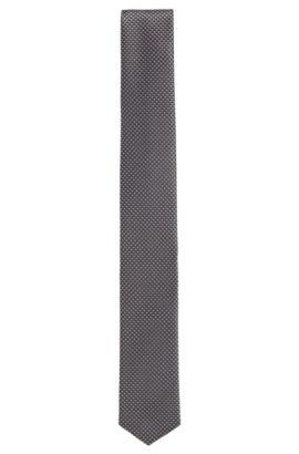 Cravatta a pois della linea viaggio in seta idrorepellente: 'Tie 6cm traveller', Nero