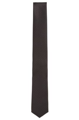 Polka dot pattern Travel Line tie in water-repellent silk: 'Tie 6 cm traveller', Black