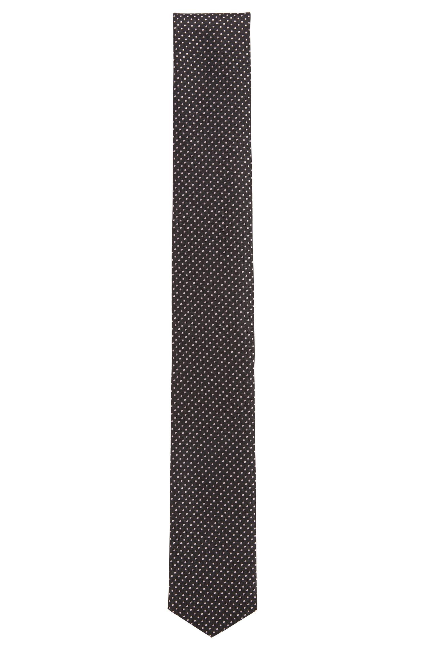 Polka dot pattern Travel Line tie in water-repellent silk: 'Tie 6 cm traveller'