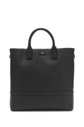 Cabas en cuir finement grené : « Traveller_Tote open », Noir