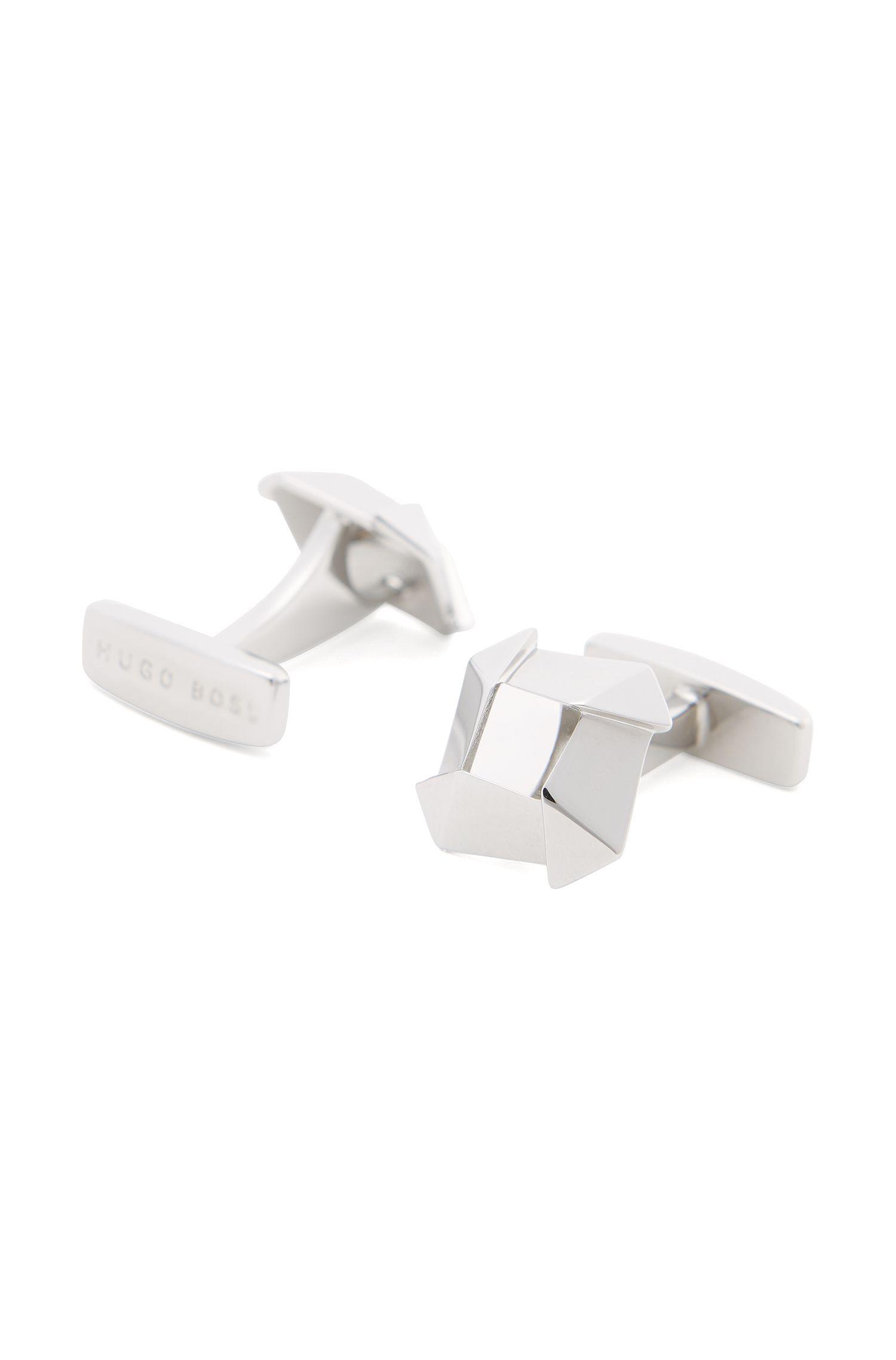 Geometrically-shaped brass cufflinks: 'Rich'