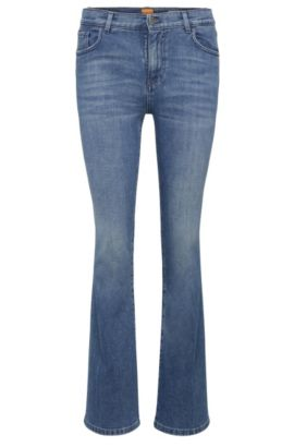 Slim-fit jeans in stretchy cotton blend with flares: 'Orange63 Chester', Dark Blue