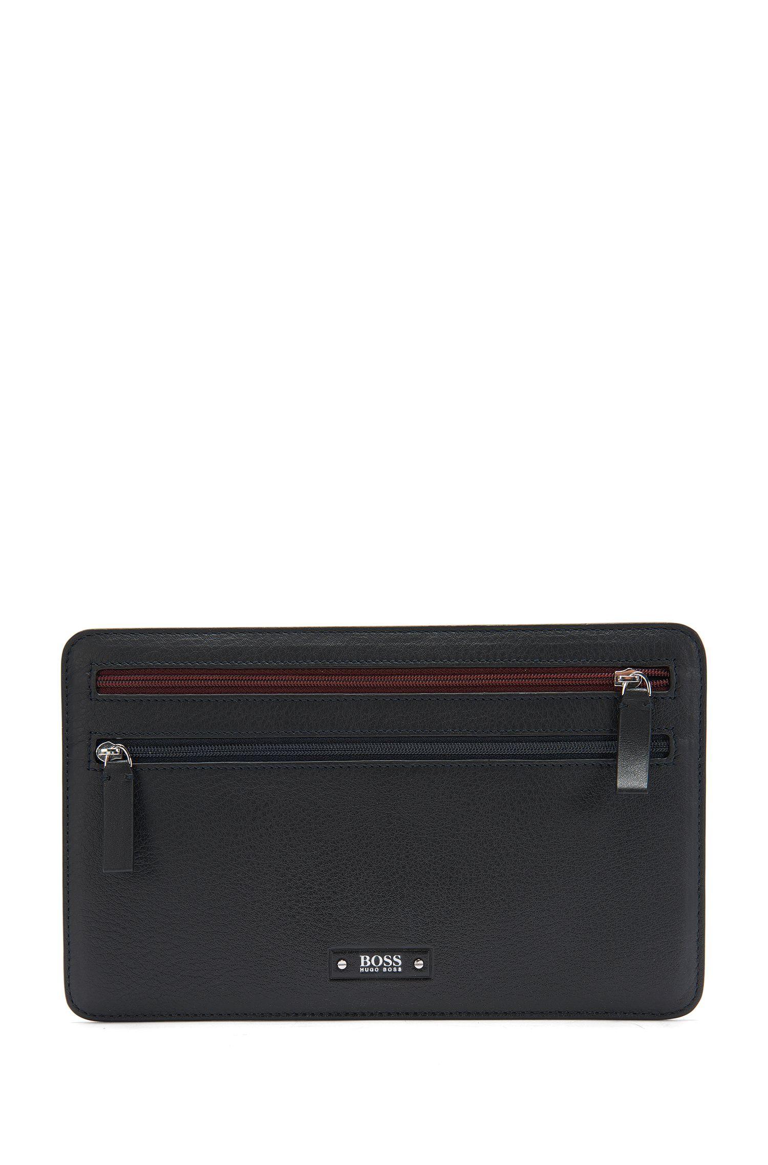 Portefeuille en cuir doté de zips de couleur contrastante: «Traveller_Multi curr»