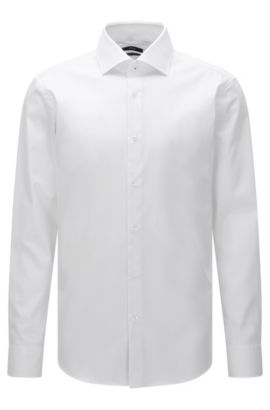 Plain regular-fit shirt in easy-iron cotton: 'Gert', White