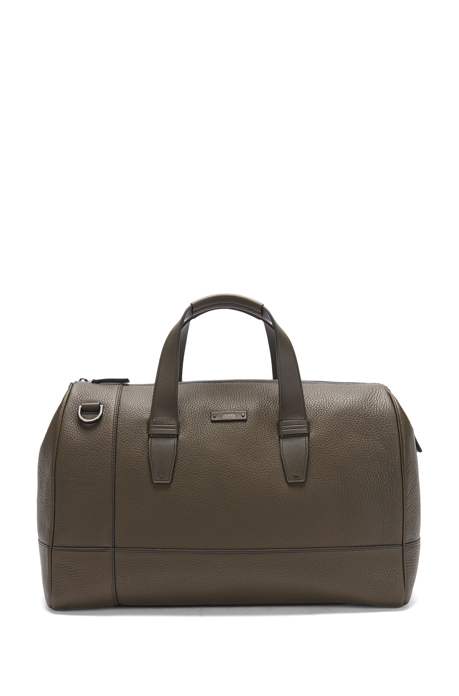 Weekender in grained leather: 'Aspen_Holdall D'