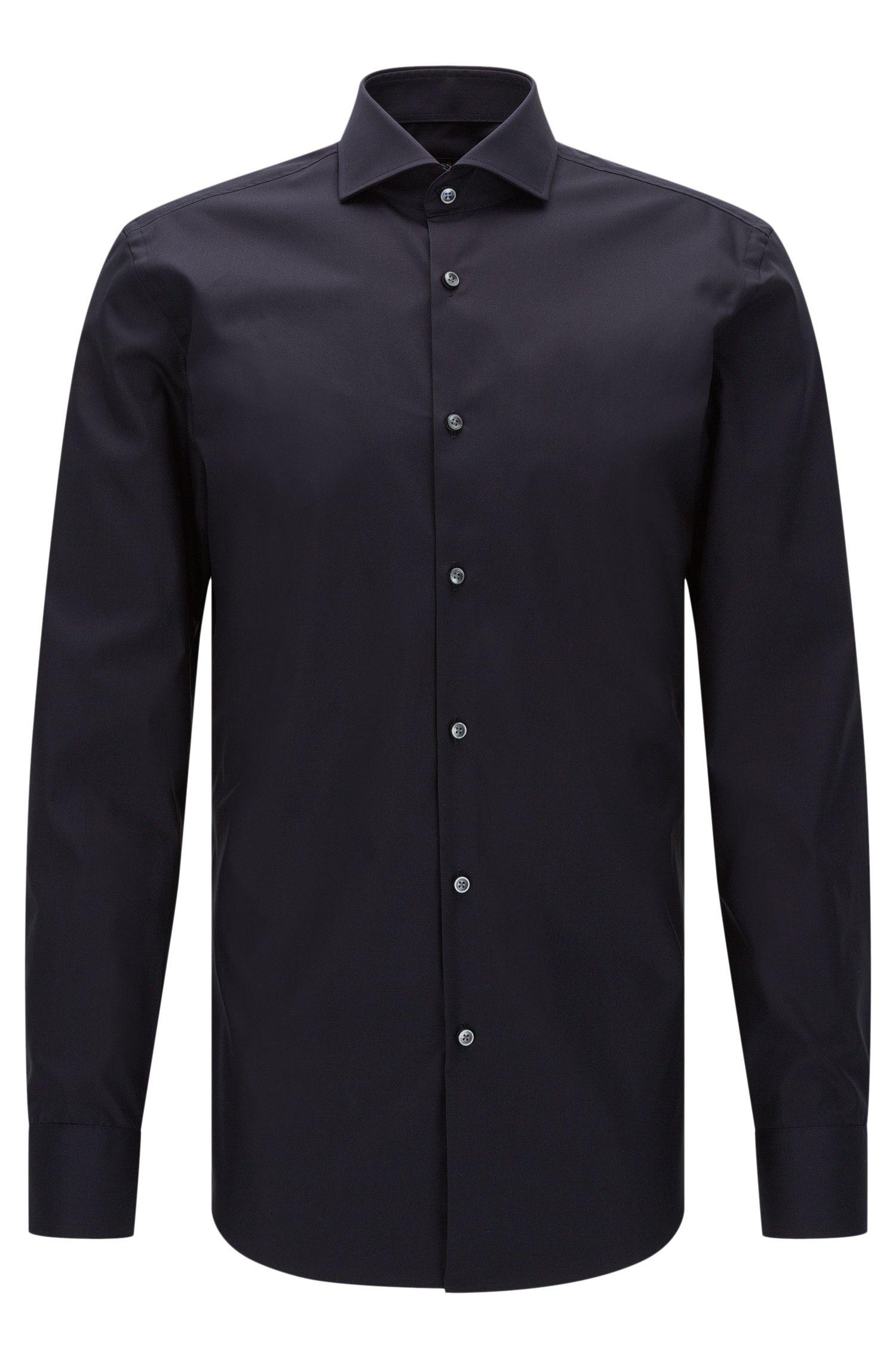 Plain slim-fit cotton shirt: 'Jerrin'