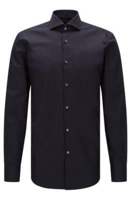 Effen slim-fit overhemd van katoen: 'Jerrin', Donkerblauw