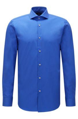 Plain slim-fit cotton shirt: 'Jerrin', Blue