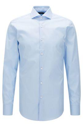 Camisa lisa slim fit en algodón: 'Jerrin', Celeste