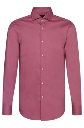 Plain slim-fit cotton shirt: 'Jerrin', Pink