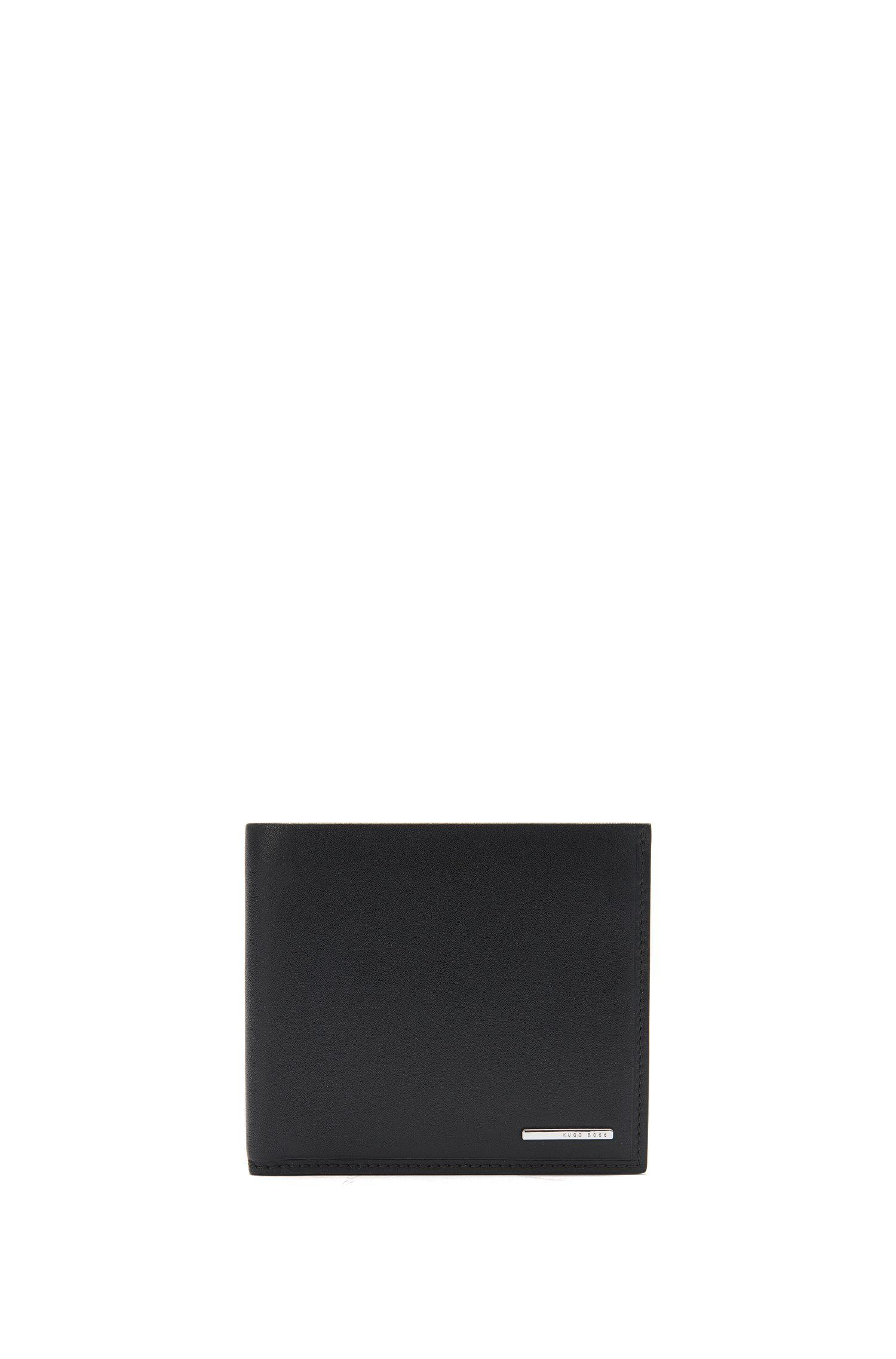 Portefeuille à deux volets en cuir naturellement grainé, Noir