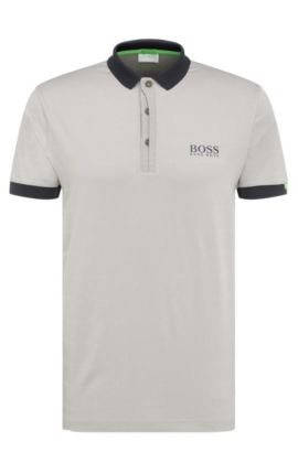 Regular-fit golf polo shirt in stretchy fabric blend. 'Paddy MK 1', Light Grey