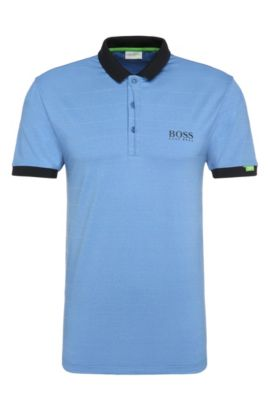 Polo de golf regular fit en mezcla de materiales elásticos: 'Paddy MK 1', Azul
