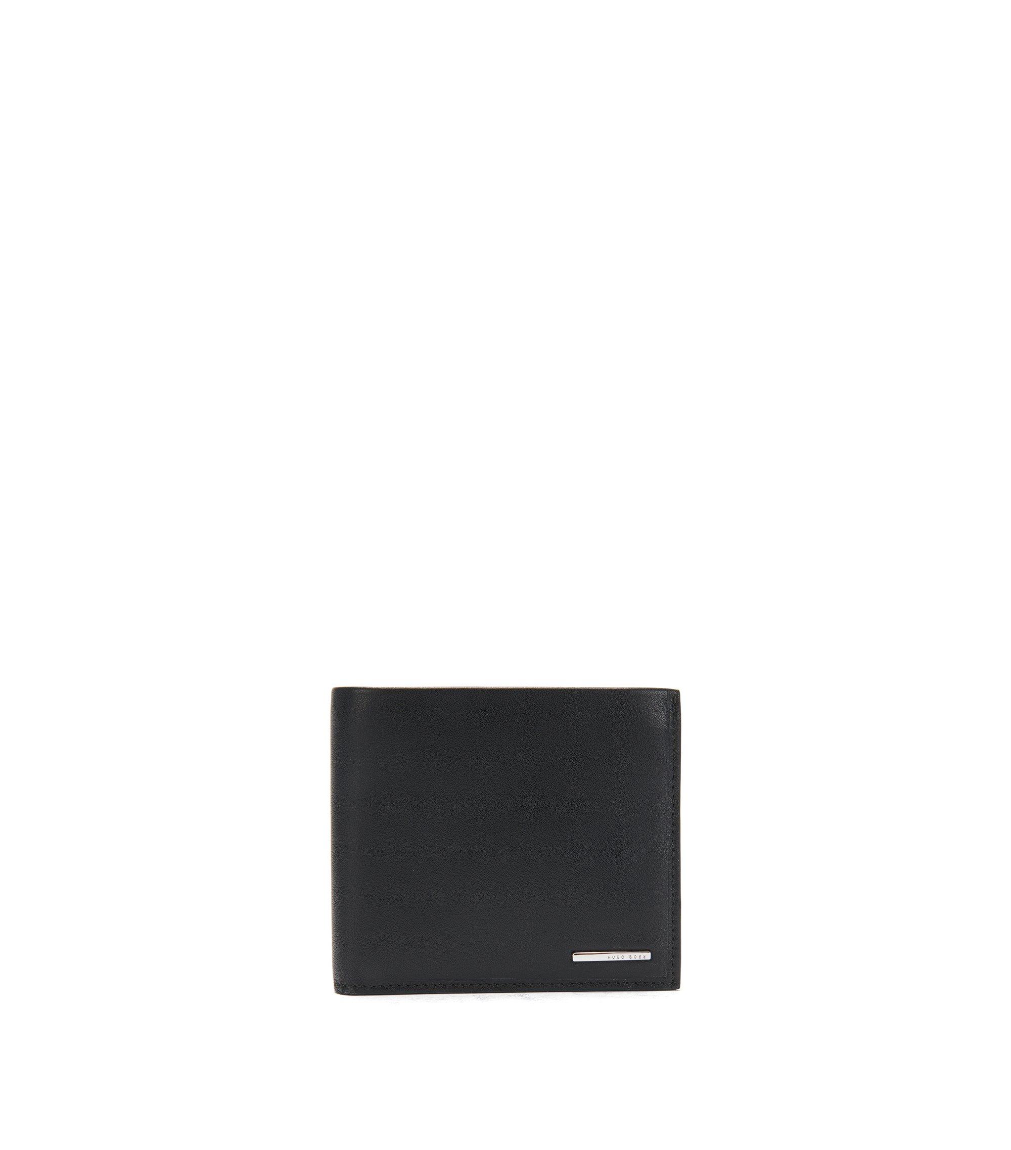 Klapp-Geldbörse aus natürlich genarbtem Leder mit Münzfach, Schwarz