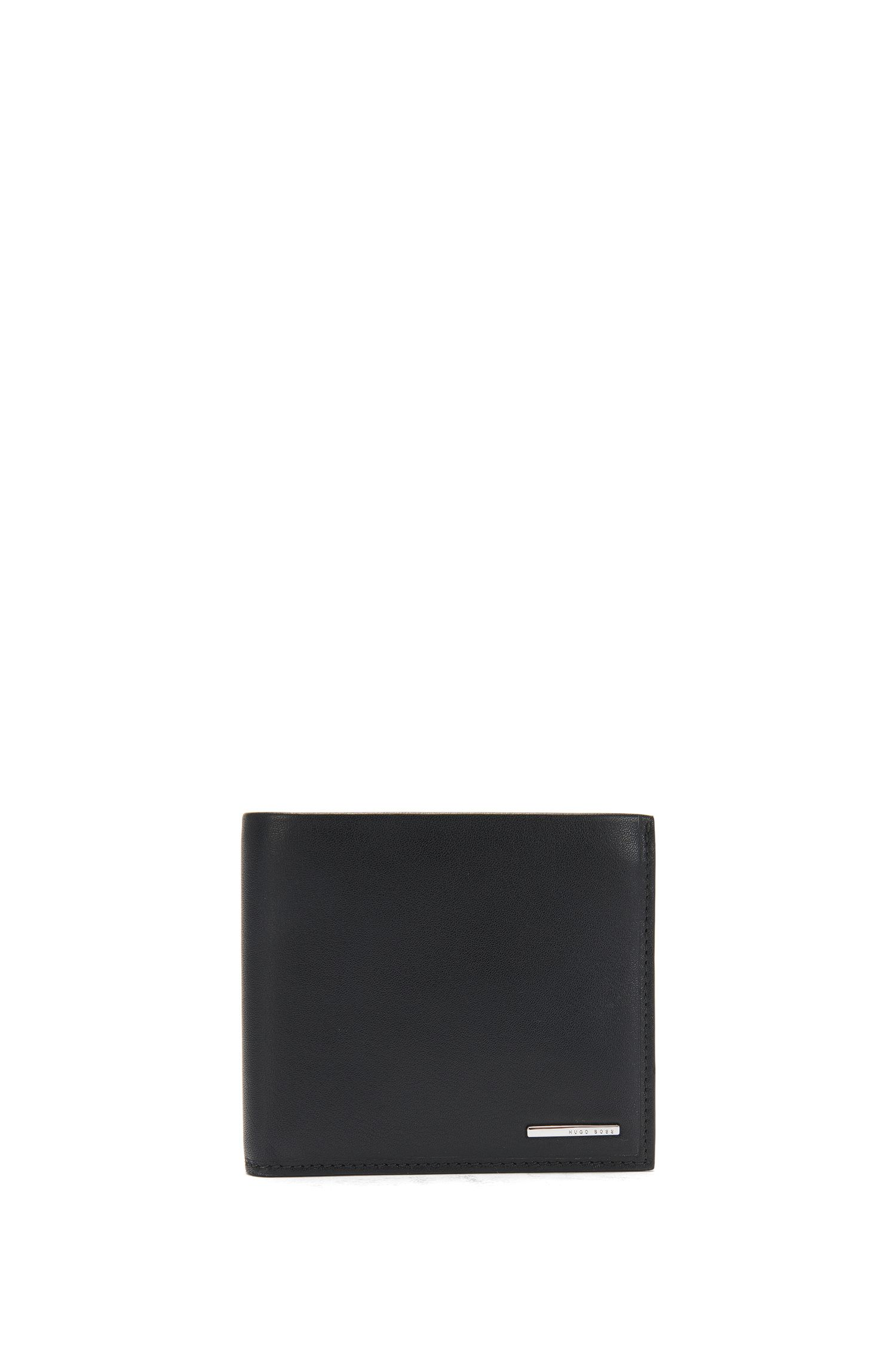 Bi-fold wallet in natural-grain leather with coin pocket