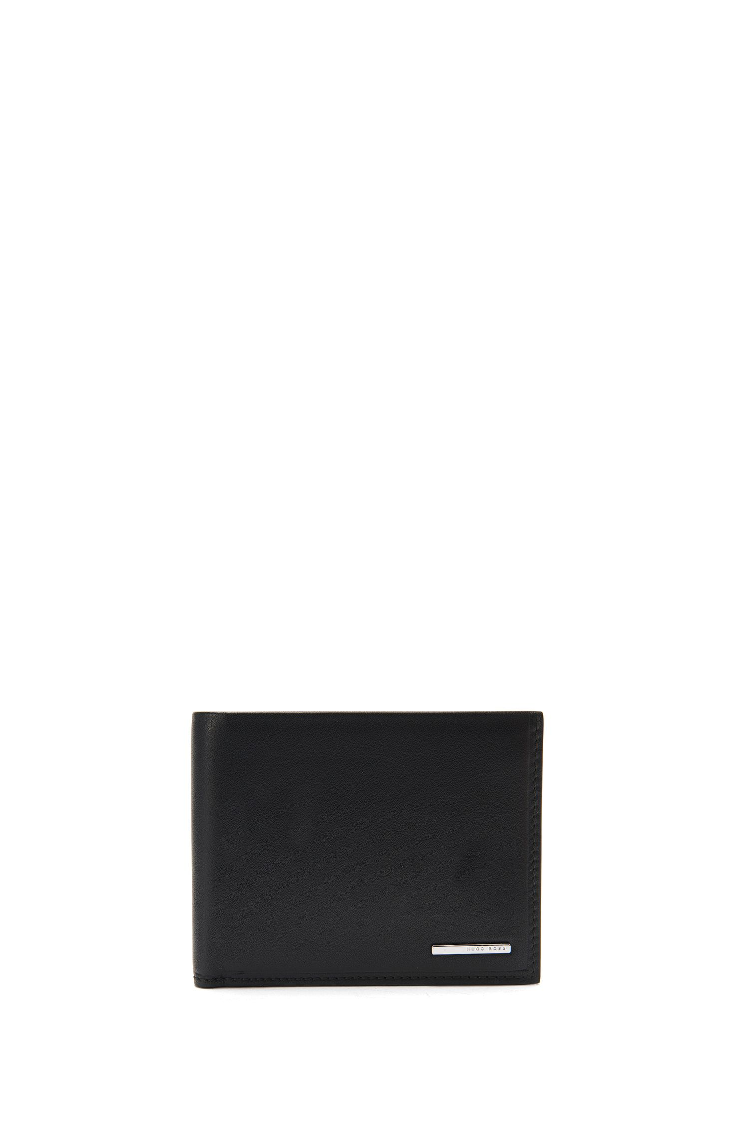 Bi-fold wallet in grained leather