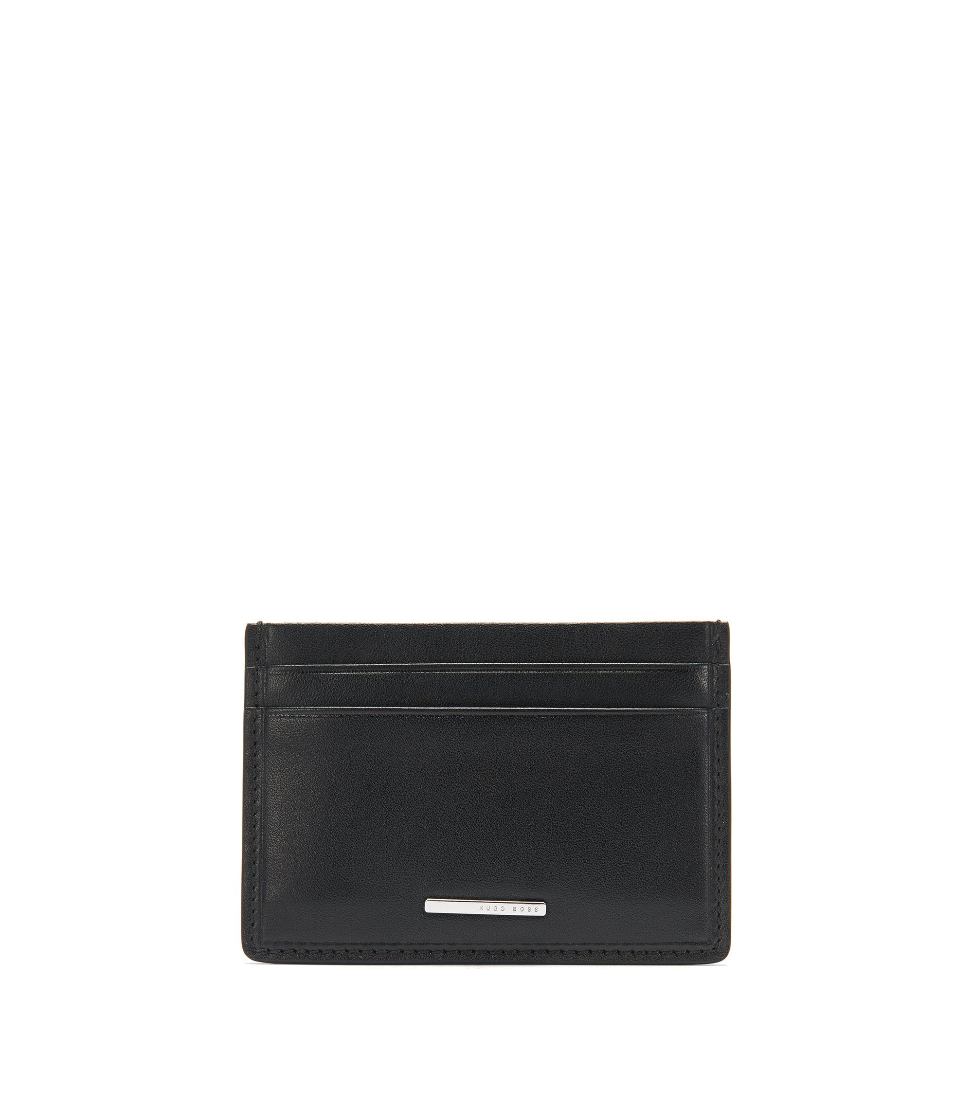 Card case in natural-grain leather, Black
