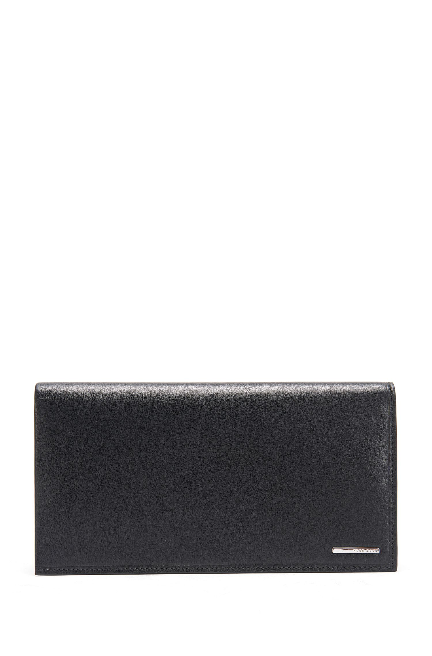 Long wallet in natural-grain leather