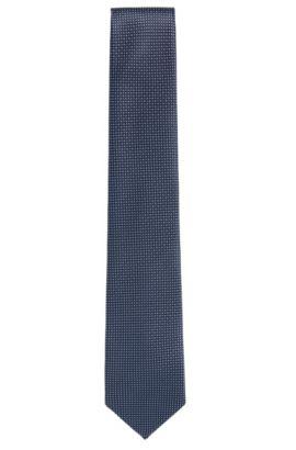 Stropdas van zijde met dessin: 'Tie 7,5 cm', Donkerblauw