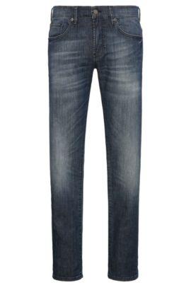 Skinny-fit jeans van een elastische katoenmix in used-look: 'Orange72', Blauw